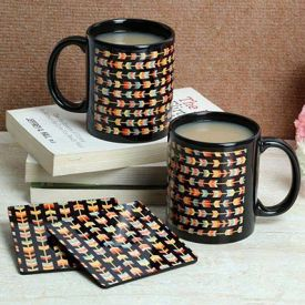 Black Print Coasters With Mugs