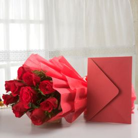 Red love with greeting card