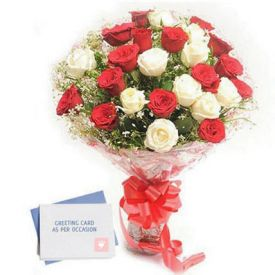 Red n white roses with greeting card