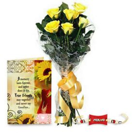 Yellow roses with greeting card