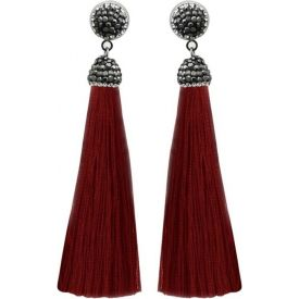 Marcasite Stone And Maroon Thread Rhodium Plated Tassel Earrings