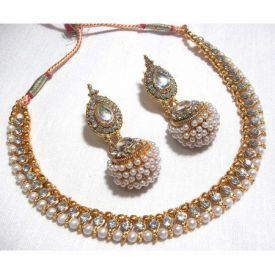 Golden Big Gota Pearl Necklace Set