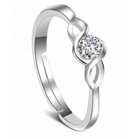 Platinum Plated Elegant Classic Crystal Adjustable Ring For Women