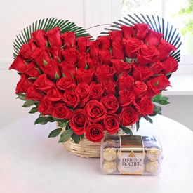 Heart shape of 50 Red roses with Ferrero rocher