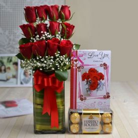Roses with Ferrero Rocher N Greeting Card