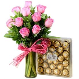 Pink Roses in vase with ferrero rocher