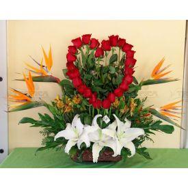 Basket of heart arrangement