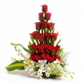 Basket of mixed flowers arrangements