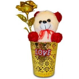 Golden Rose in Vase with Soft Toy
