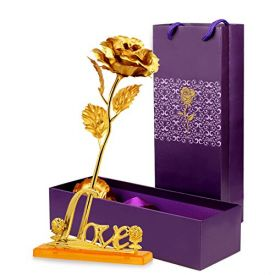 Golden Rose with Love Stand