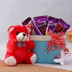 Chocolates Basket with Teddy