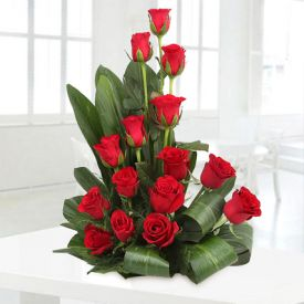 Basket of 18 Red Roses