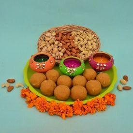Laddu With Diya and Dry Fruits