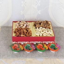Mixed Fruits With Diyas