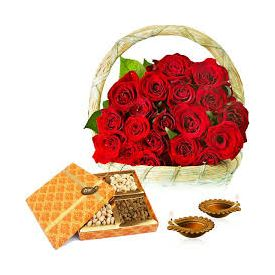 Dry Fruits With Diya And Roses