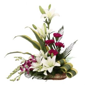 Lilies with Orchids Arrangement