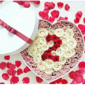 Heart shape roses with heart shaped box