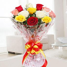 Mixed Roses With Cellophane packing