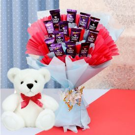 Teddy with Dairy Milk Bouquet