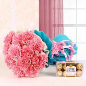 Pink Carnation with Ferrero Rocher