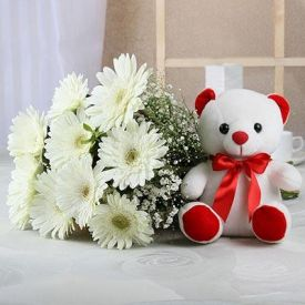 Gerberas N Teddy Bear