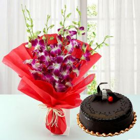 Orchids N Truffle Cake
