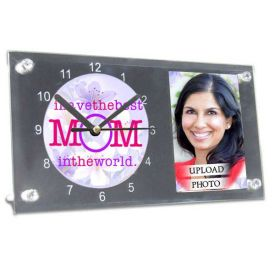 Glass Photoframe With Clock For Mother